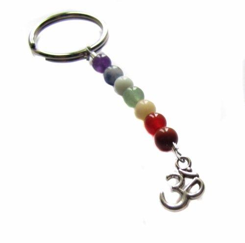 Chakra Gemstone OM Charm Keychain, Key Chain, Yoga Bag Charm