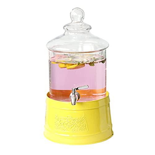 Lwieui Dispensador de Bebidas Dispensadores De Bebidas De Gafas De Vidrio Transparente De Hielo con Hielo con Soporte del Cubo De Hielo Conjuntos de Bebidas (Color : Clear, Size : 46.7x25.5cm)