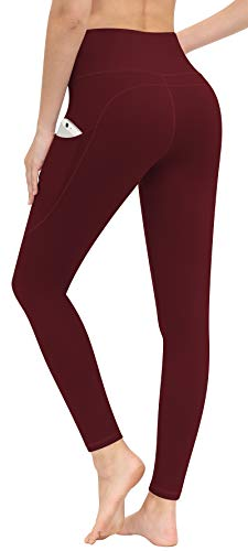 CUGOAO High Waist Yoga Pants, Yoga Pants with Pockets Tummy Control Workout Pants Pocket Leggings for Women Wine Red