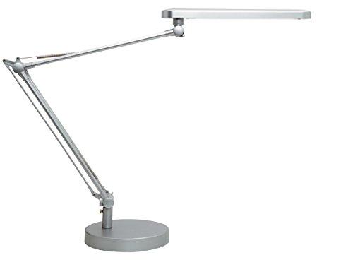 Unilux LED Schreibtischlampe Mambo, dimmbar 3.000 bis 5.000K, 900LUX, 7W, mit Klemme und Fuß, Lichtfarbe einstellbar,grau