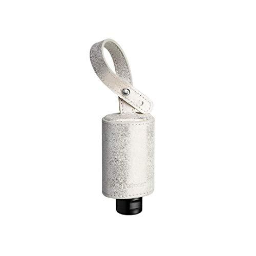 Pericosa CarryME-Set TREND silber-gold | Taschen-Anhänger Leder mit mini RefreshME Hand Desinfektionsgel viruzid Desinfektionsmittel gegen Viren für die Hände