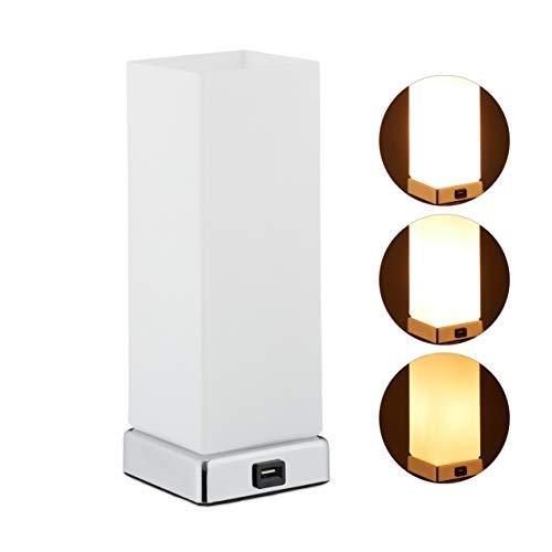 Relaxdays Dimmbare Nachttischlampe, 3 Leuchtstufen, Touchfunktion, USB Anschluss, Tischlampe HxBxT: 28x10x10 cm, weiß