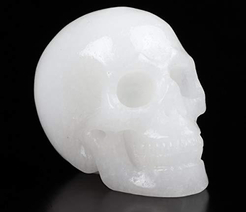 Skullis 2.0' White Stone Crystal Skull, Hand Carved Gemstone Fine Art Sculpture, Reiki Healing Stone Statue.