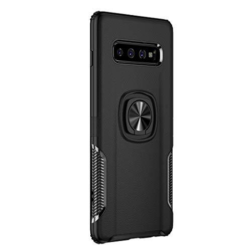Hülle kompatibel Samsung Galaxy S10 Plus, Hart PC+Soft Silikon Case Stoßfest Kratzfest Bumper Schutzhülle Matt Magnetic Handyhülle Case Mit Ringhalter für Samsung S10e / S10 (Schwarz, Galaxy S10 Plus)