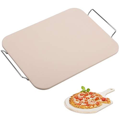 Westmark Pizzastein/Brotbackstein mit Untersatz, Maße: 38 x 30 cm, Rechteckig, Unglasierte Keramik, Beige, 32422260