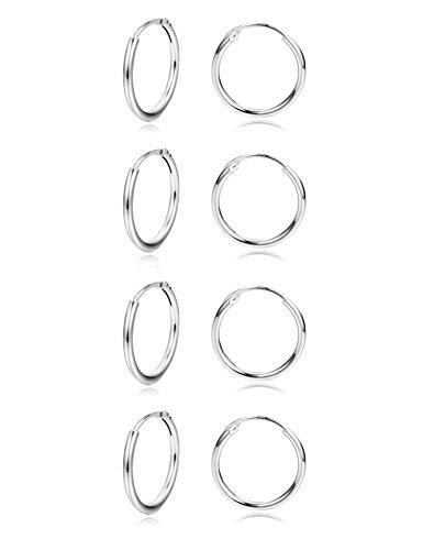 Sllaiss 4 Paar Mini-Creolen 925 Sterling Silber für Frauen klein rund Endlos Creolen Set 12 mm hypoallergen