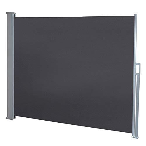 Froadp 160×300cm Ausziehbar Seitenmarkise Robust Polyester Windschutz und Sichtschutz Seitenrollo Markisen für Balkon Terrasse Garten(Anthrazit)