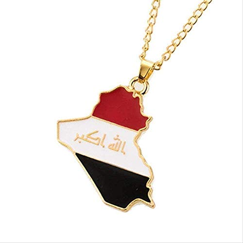 YUNQIYZH Co.,ltd Necklace Republic of Iraq Map Flag Alloy Pendant Necklace for Women Girls Jewelry Gift Necklace Pendant Necklace Girls Boys Gift