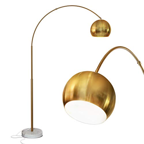 Brightech Olivia - Over The Couch Arc Floor Lamp with Globe Shade, Matches Your Living Room Decor - Standing Light for Bedroom, Office - Tall Gold aka Brass Lighting