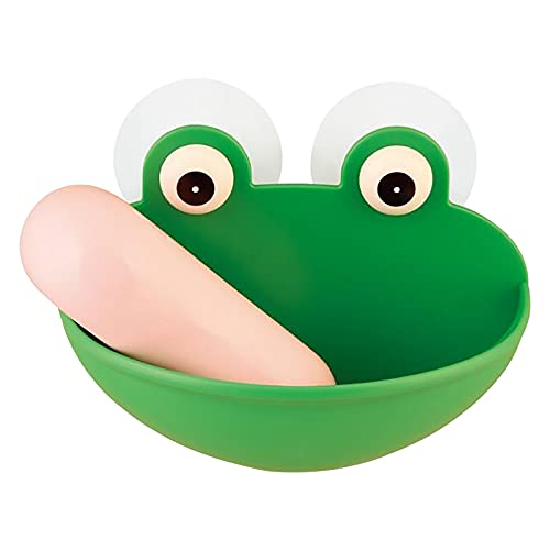 SHILONG Silicone Frog Shaped Soap Holder - Lovely Frog Suction Cup Soap Dish Soap Sponge Holder with Powerful Sucker, Kitchen Bathroom Soapbox for Kids Shower Bathroom Frog Pets (a)