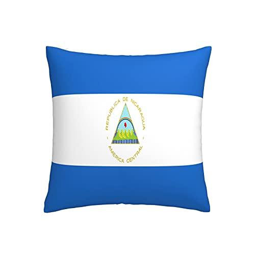 Kissenbezug mit Flagge von Nicaragua, quadratisch, dekorativer Kissenbezug für Sofa, Couch, Zuhause, Schlafzimmer, für drinnen & draußen, 45,7 x 45,7 cm