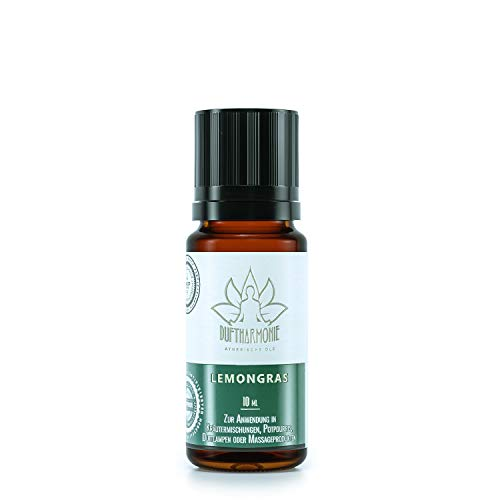 Ätherische Öle von DuftHarmonie | 10ml Duftöle für Diffuser, Duftlampfen | 100% Naturrein Essential Oil | Pflanzliche Aromatherapie für Luftbefeuchter, Massagen, Enstpannung (Lemongras)