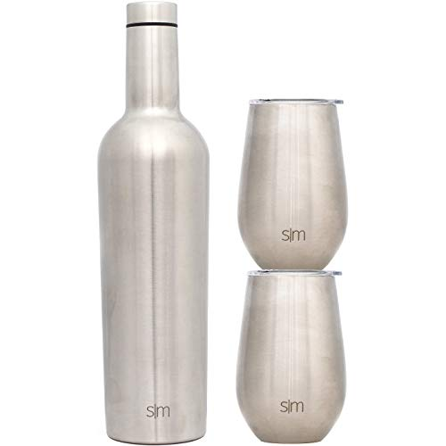 Simple Modern Spirit Wine Bundle - 2 12oz Wine Tumbler Glasses with Lids & 1 Wine Bottle - Vacuum Insulated 18/8 Stainless Steel -Simple Stainless