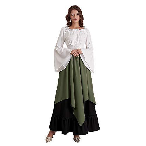 Abaowedding Damen Mittelalter Kleid Retro Renaissance Kostüme Irische Trompete Ärmel Rundhalsausschnitt Bauernkleid Langes Kleid -  Grün -  Small