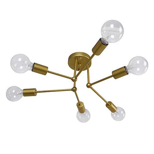 Lingkai Modern Deckenleuchte 6-licht Vintage Kronleuchter Industrielle Deckenleuchte für Wohnzimmer Schlafzimmer E27 Lampenfassung Gold