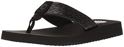 Yellow Box Women's Flax Wedge Sandal, Black, 8.5 M US