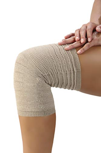 SPIKENERGY Rodillera Elástica Electromagnetoterapia Ideal Para Dolores Articulares, Inflamaciones, Esguinces y Artrosis - Producto Sanitario (Medium, Beige)