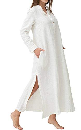 Minetom Femme Bohème Kaftan Robe Longue Maxi Lin Coton Col V Manches Longues Couleur Unie Lâche Rétro Tunique Dress Soirée Cocktail Blanc FR 40