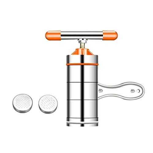 ZWB Nudelmaschine Manuell Manuelle Nudelmaschinen, Pasta Cutter Frische Nudeln Press Pasta Maschine mit 2 Nudel-Form, Gemüse, Obst Entsafter Küchenwerkzeug-Zubehör (Color : Orange)
