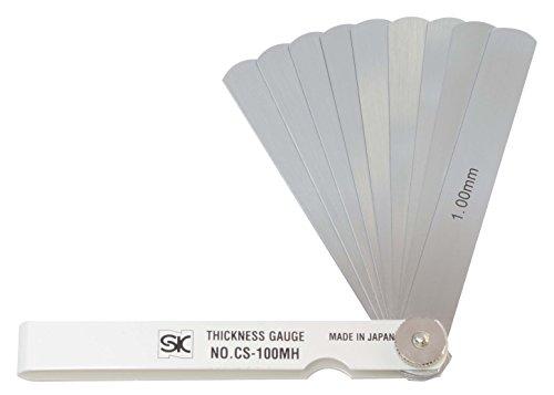 新潟精機 SK シクネスゲージ(すきまゲージ) カラースリーブタイプ 白 10枚組 100mm CS-100MH 0.10-1.00mm