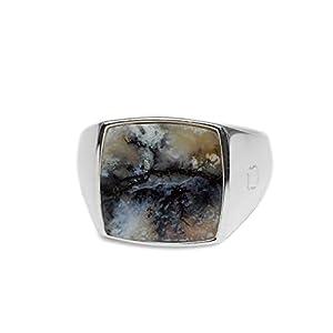 Sprezzi Fashion® Siegelring aus massivem 925 Sterling Silber für Männer in silber und gold mit Stein in den Ringgrößen 58 bis 66   Schmuck Herrenring aus Deutschland