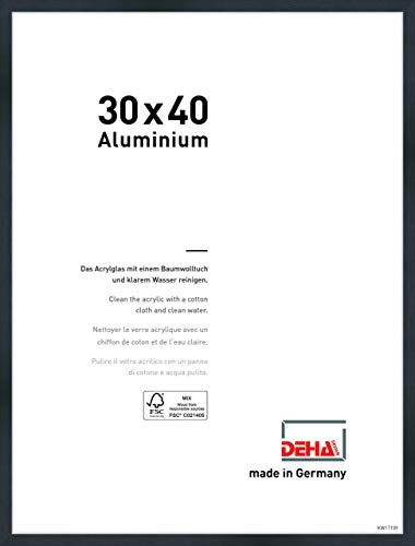 DEHA Aluminium Bilderrahmen Tribeca, 30x40 cm, Struktur Schwarz Matt