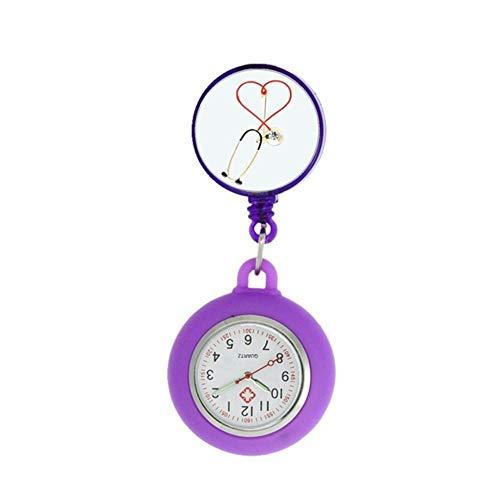 Arzt New Krankenschwester Arzt Krankenhaus Stethoskop Herzschlag passt Art und Frauen Mens medizinische Retractable Pediatrics Tasche Geschenk Uhren (Color : 7)