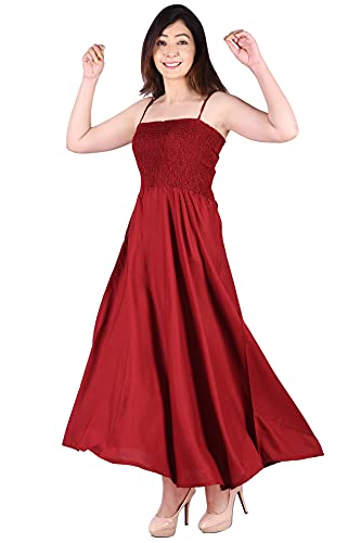 KEEP CART Rayon A-Line Western Gown for Women/One Strip Long Dress/Fit-Flare Sleevless Shoulder Straps Maxi Dress for Girl's