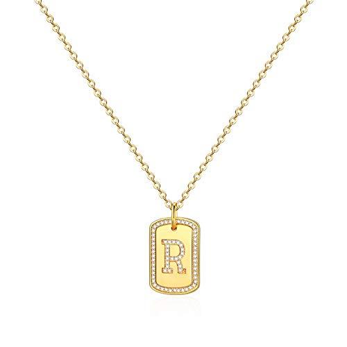 IEFWELL Collares con inicial de oro para mujer, chapado en oro de 14 quilates, circonitas cúbicas cuadradas, letras del alfabeto de la...