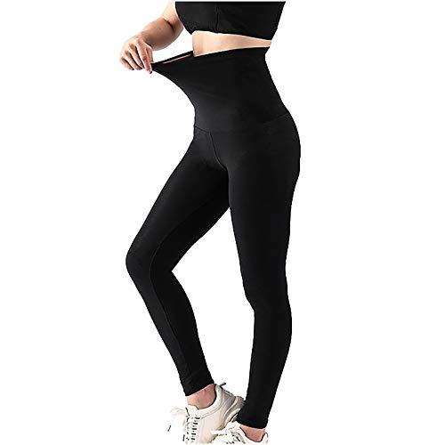 Teisrovn Frauen Schwitzen elastische Taille Trainer Bauch Kontrolle Fitness Leggings Shorts Sporthose Workout Hochelastische Leggings Fitness Hose Trainingshose(Schwarz,L)