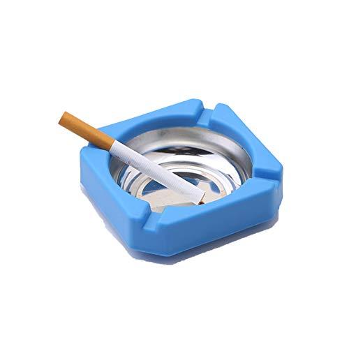 2 Paquetes creativos de plástico de Acero Inoxidable cenicero Cuadrado Herramienta para Fumar Accesorios de Cigarrillos de Oficina en casa (Colores aleatorios)