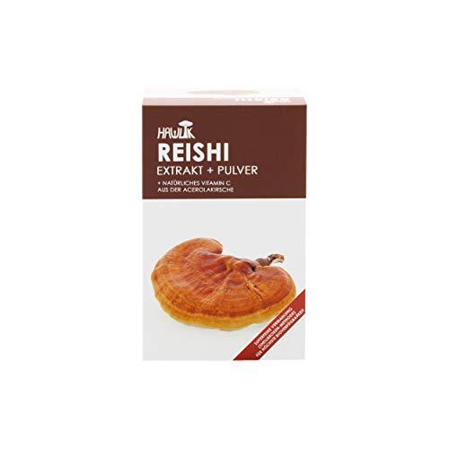 Hawlik Vitalpilze - Reishi Extrakt + Pulver 120 Kapseln - 250mg Extrakt - 150mg Pulver - 8,5 mg natürliches Vitamin C
