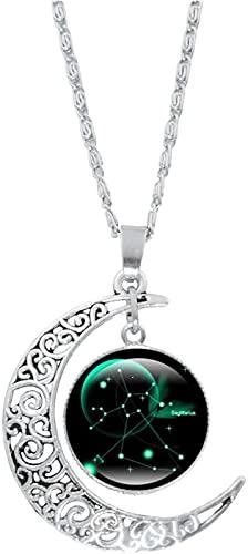 LASULEN Collar de 12 Constelaciones de Luna Regalos Astrología Galaxy, 2021 Collar de 12 Constelaciones de Moda, Collar con Colgante de Luna Creciente, Galaxy Zodiaco Astrología Horóscopo Collar