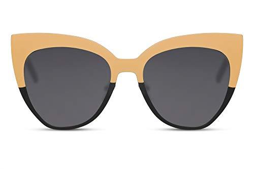 Cheapass Occhiali da Sole Grandi Neri e Gialli Metallici con forma a Gatto per le Donne 100% UV400 protetti