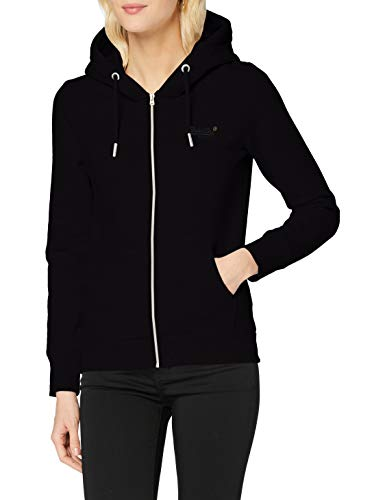 Superdry Orange Label Ziphood NS suéter, Negro, XL (Talla del Fabricante:16) para Mujer