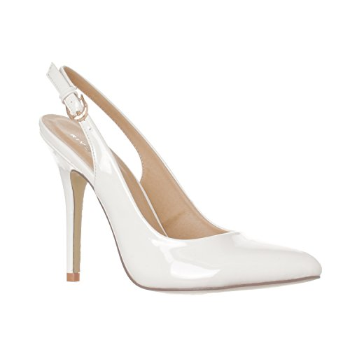 Riverberry Women's Lucy Pointed-Toe, Sling Back Pump Stiletto Heels, White Patent, 9
