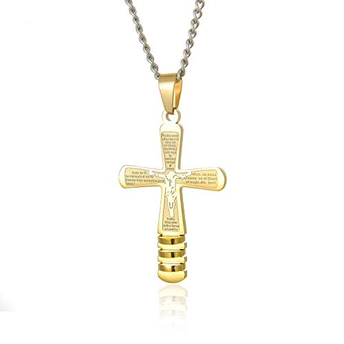 Minekkyes Retro Cruz De Oro Colgante Collares Jesús Biblia Acero Inoxidable Collar para Hombres Niño Hombre Religiosa Joyería Regalo