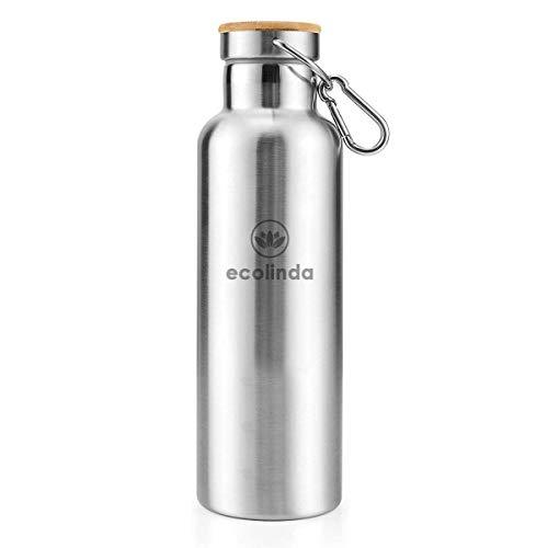 ecolinda® Thermosflasche Edelstahl GRØNLAND 750ml | inkl. Karabiner | Doppelwandige Isolierflasche mit Vakuum Isolierung | nachhaltige Wasserflasche für Sport, Uni, Outdoor, Camping