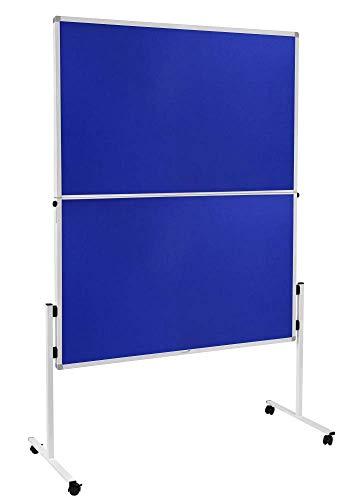 Legamaster 7-209400 Mobile Moderationswand Economy, klappbar, werkzeugloser Aufbau, filzbespannt, blau