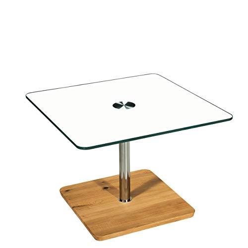 tischdesign24 Burdsch1718 Couchtisch mit Lift-Höhenverstellung 49-78cm, OptiWhite RAL 9003 weiß Platte, Bodenplatte in Wildeiche Massivholz mit Rollen. Größe: 70 x 70 cm Quadratisch