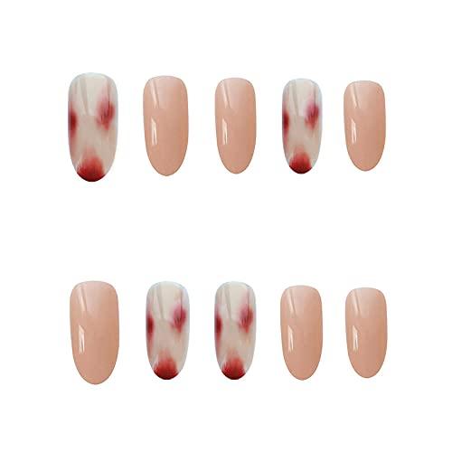 Faux ongles 24pcs Faux Ongles Patch Ambre Motif Mi-longueur Couverture Complète Appuyez sur les faux ongles Patch Décorations de salon de manucure