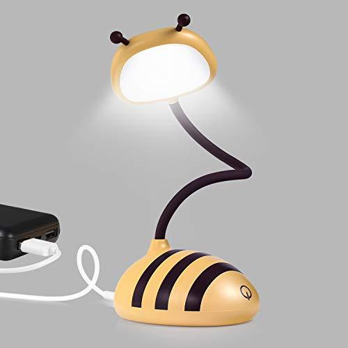 Merry LED escritorio, lámpara de objetivo, lámpara de mesa táctil para la mesita de noche del hogar, puerto USB, lámpara de escritorio inalámbrica, color amarillo abeja