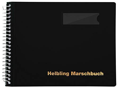 Helbling BMS25 Marschbuch (Notenbuch mit 25 blendfreien Klarsichthüllen, Umschlag aus flexiblem Kunststoff, bruchsichere Spiralbindung, wetterfest, Querformat: 18 x 14 cm) schwarz