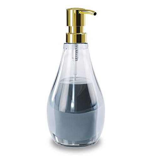 Umbra Droplet Seifenspender, Flüssigseifenspender und Spülmittelspender mit 280ml Fassungsvermögen aus Acrylglas für Badezimmer und Küche, Denim Blau, normal