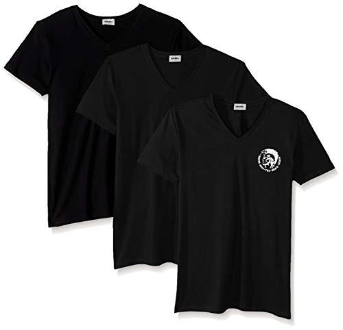Diesel Herren Michael 3 Pack V-Neck T-Shirts Funktionsunterwäsche, schwarz, Medium
