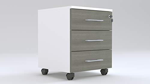 TIME Cassettiera Ufficio o Casa (Rovere Scuro) a 3 cassetti su Ruote L.43 x P.54 x H.56 con Serratura sul 1° cassetto