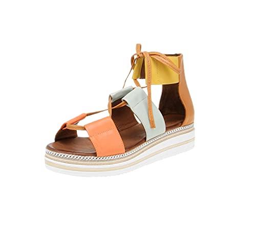 Maca Kitzbühel 2812 - Damen Schuhe Sandaletten - orange-Kombi, Größe:39 EU