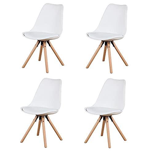 VERDELZ Set of 4, Linen/Velvet Fabric/ABS PP Nordic Dining Chair with Beech Wood Legs for Dining Room, Living Room, Office, Bedroom, White
