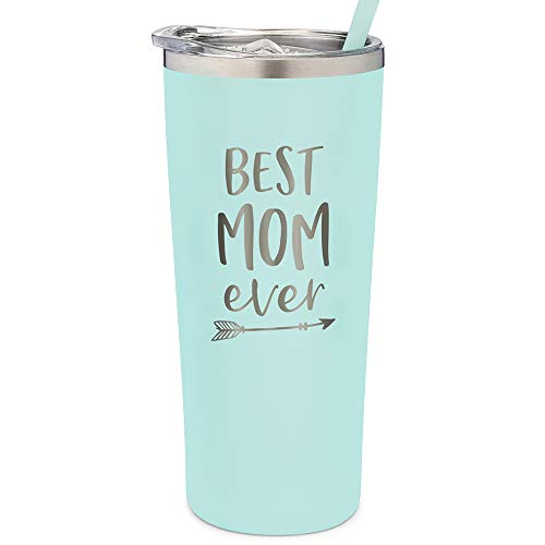 SassyCups Best Mom Ever Tumbler | 22 Ounce Engraved Mint Stainless Steel Tumbler with Lid and Straw | New Mom | Mom Tumbler | For Mom | Mom To Be | Mom Birthday | For Mom Bday