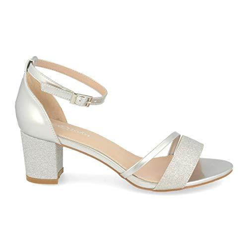 Sandalia Mujer Ankle Strap de Vestir con Tacon, Detalle Brillante y Pulsera con Hebilla en el Tobillo. Primavera Verano 2020. Talla 36 Plata